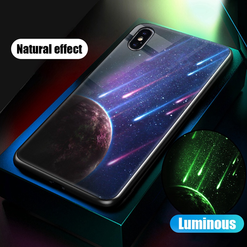 Luminous Case For iPhone X XS MAX Case For iPhone 7 6 s 8 Plus X 10 Luxury PC+Tempered Glass Pattern Silicone Edge Cover (29)