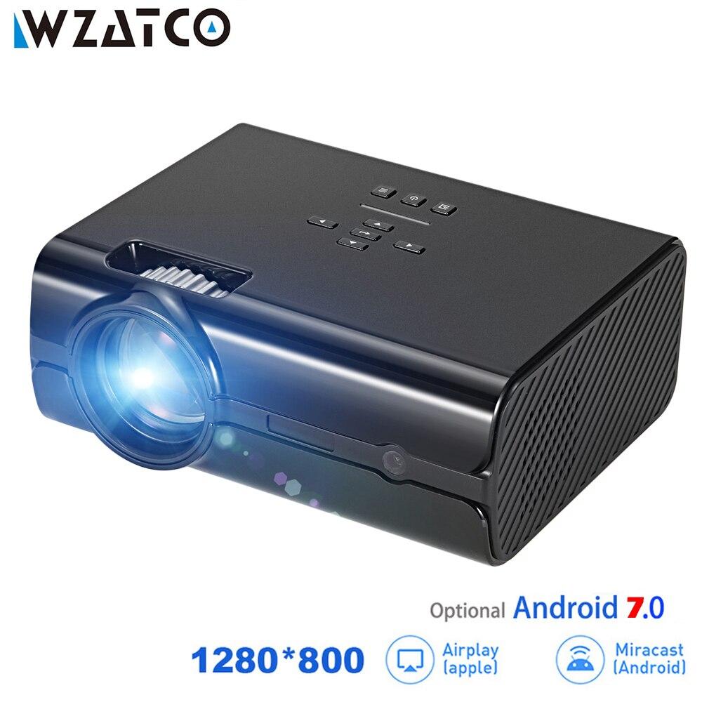 WZATCO CT68UP MINI Proiettore 2500 lumen 1280*800 TV 1080 p Video 3D HA CONDOTTO il Proiettore Android 7.0 di Sostegno 4 k WIFI Beamer Proyector
