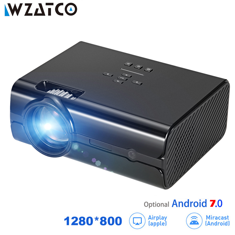 WZATCO CT68UP MINI Projector 2500lumens 1280*800 TV 1080P Video 3D LED Projector Android 7.0 Support 4K WIFI Beamer Proyector стоимость