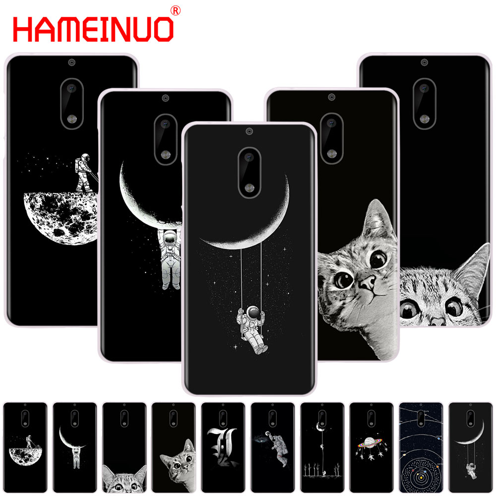 Hameinuo Space Moon Cute Cats Black Cover Phone Case For Nokia 9 8 7 6 5 3 Lumia 630 640 640xl 2018 Famous For Selected Materials Novel Designs Delightful Colors And Exquisite Workmanship