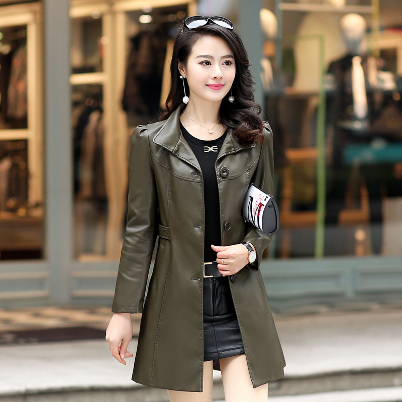 Leather   Jacket For Women Female Jacket 2018 New Fashion M-5XL Plus Size Turn Collar Slim Long Women's Clothing Jacket For Autumn