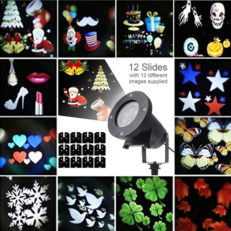 12 Slides Laser Projector Lamp Rgbw Garden Led Christmas Decoration Moving Head Led Stage Light Waterproof Outdoor Landscape