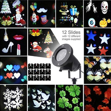 12 slides Laser Projector lamp RGBW Garden LED Christmas Decoration Moving  head LED Stage Light Waterproof Outdoor Landscape недорого