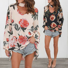 Women Printed Floral V-neck Top Long Sleeve Shirt Casual Loose T-shirt цена