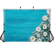 Pano de fundo fotográfico azul prancha de madeira floral vinil foto fundo para estúdio foto do bebê photophone