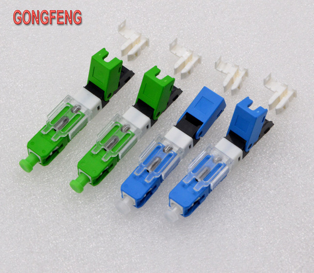 GONGFENG 100PCS NEW Hot Sell Optic Fiber Quick Connector FTTH SC Single Mode UPC Fast Connector Special Wholesale Free Shipping