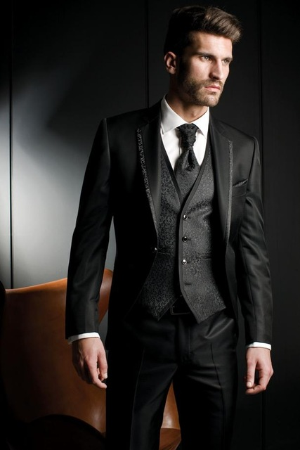Tailored Zwart Wit patroon Mannen Pak Bruidegom Wedding Suits voor Mannen Slim Fit 3 Stuk Tuxedo Custom Prom Blazer Terno masculino-in Pakken van Mannenkleding op  Groep 3
