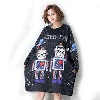 Oversized Streetwear Dress Fashion Robot Print Sequins Printing Harajuku Style Female Top Tee Shirt Tunic Vestidos