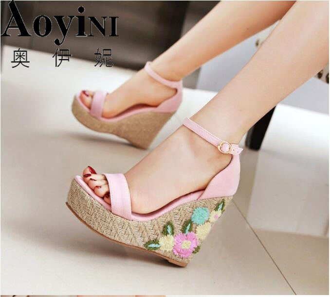 2018 Plus Size Women Sandals Platform Women Shoes Wedges Sandals Open Toe Summer platform Flowers Sandals nemaone new 2017 women sandals summer style shoes woman platform sandals women casual open toe wedges sandals women shoes