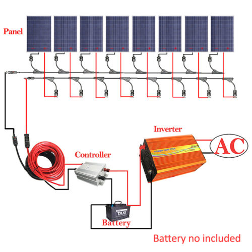 800W Complete Kit: 8*100W PV Solar Panel W/ 3000W Off Grid Inverter 12V RV Boat