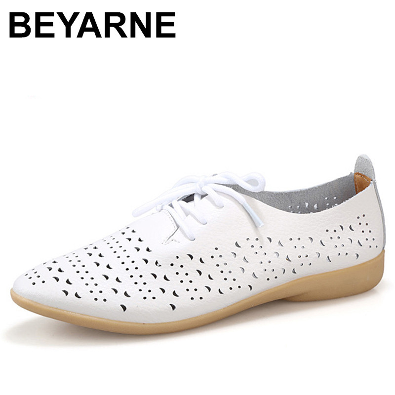 BEYARNE Split Leather White Shoes For Woman Cow Muscle Soft Bottom Pointed Toe Lace Up Casual Leather Women Flat Shoes xiuningyan soft leather women shoes brogues lace up flat pointed toe patent leather white oxfords women casual shoes for women