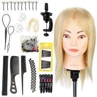 Neverland 16 ''100% Prawdziwe Włosy Blond Włosy Fryzjerstwo Manekin Szef Szkolenia Głowy dla Salon Stylista Szkoła + Clamp Włosów narzędzie