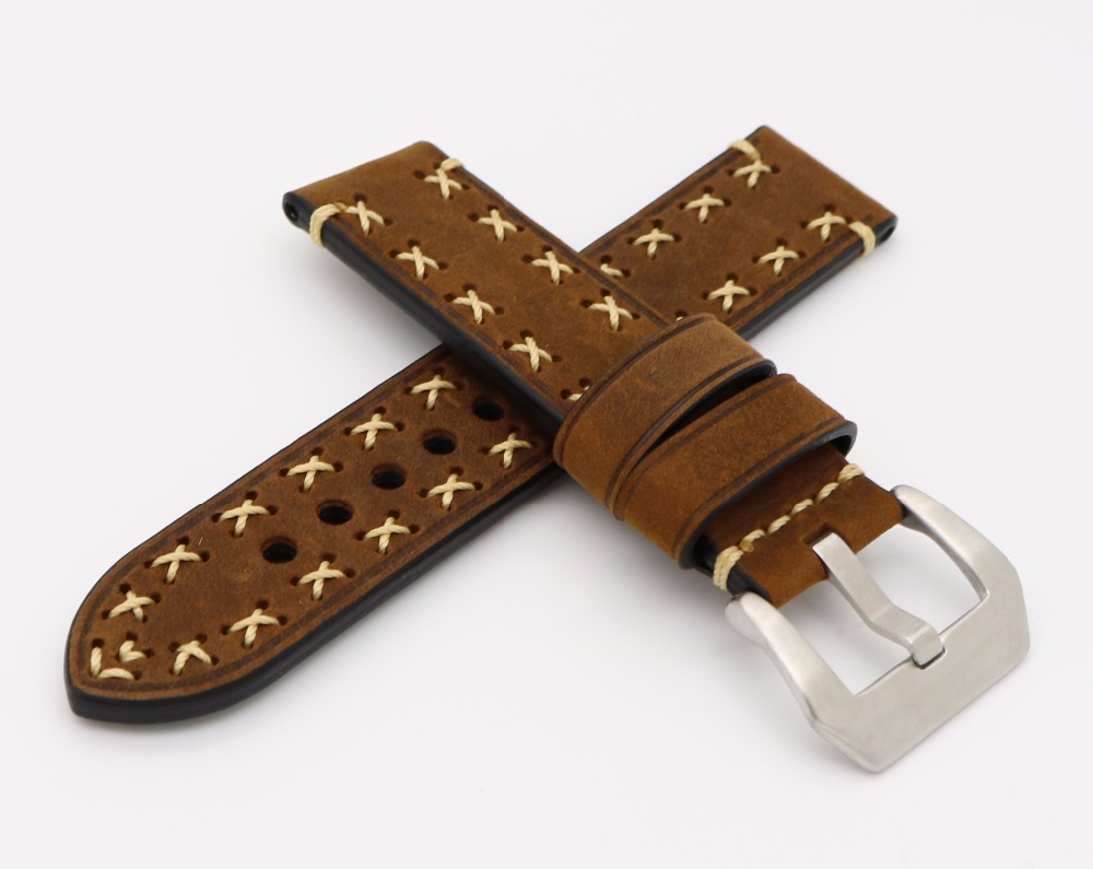 20mm 22mm 24mm 26mm2016New Men women brown Watch Band Genuine Cowhide Leather Handmade Stitches Thick Band Strap Belt Pin Buckle eache silicone watch band strap replacement watch band can fit for swatch 17mm 19mm men women