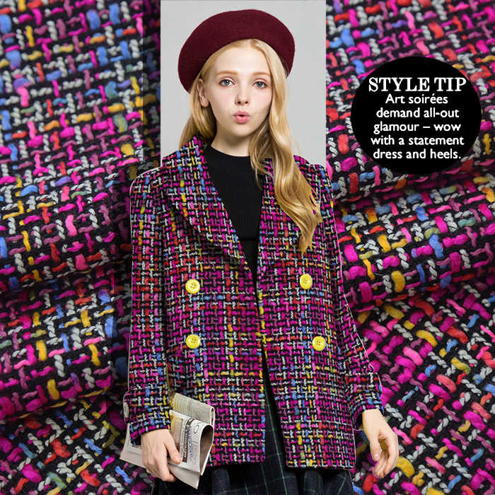 Korean rainbow color preparation half skirt coat shorts suit fabric tweed fabric small fragrant wind woven cloth free shipping