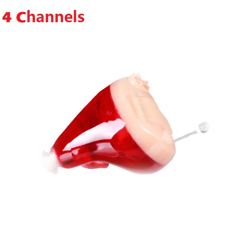 Invaxe Red Color Mini Invisible CIC Hearing Aid 4Channels Digital Hearing Aids For The Elderly In The Ear Sound Amplifier feie mini hearing aid invisible hearing 4 channels digital ready to wear hearing aids cic free shipping s 12a
