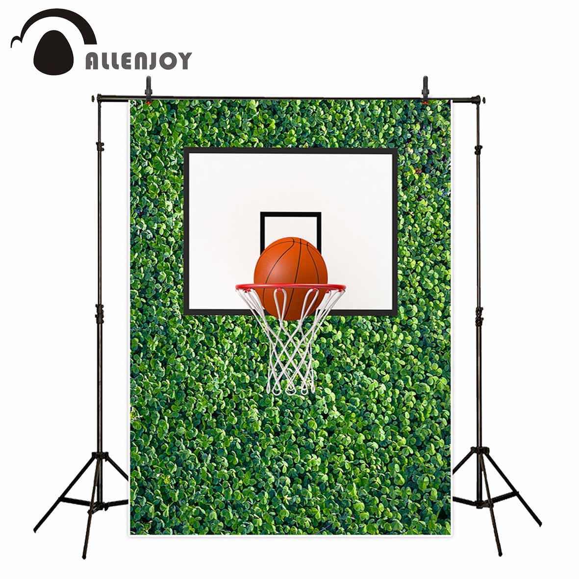 Allenjoy Basketball hoop on green ivy wall party backdrop family decoration children background fund for the photo fond studio