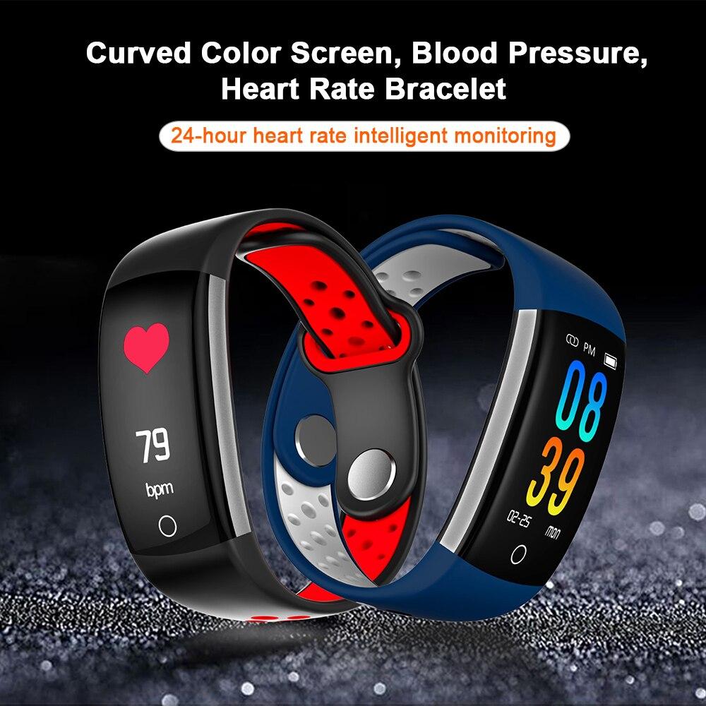 Pulsera inteligente monitor de ritmo cardíaco sangre presión Fitness Tracker smartband reloj pantalla a color deporte impermeable pulsera inteligente