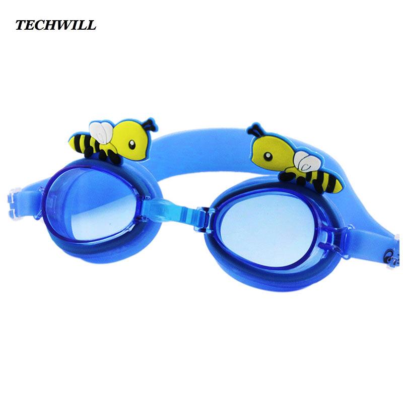 Cute Baby Swimming Goggles Cartoon Bees Diving Glasses Children Waterproof Anti-fog Flat Light Goggles Kids Swimming Equipment