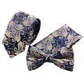 Formal Business Small Floral Necktie&Pocket Square&Bow Tie Set Mens Suit Papillon Skinny Corbatas Handkerchief Towel gravata