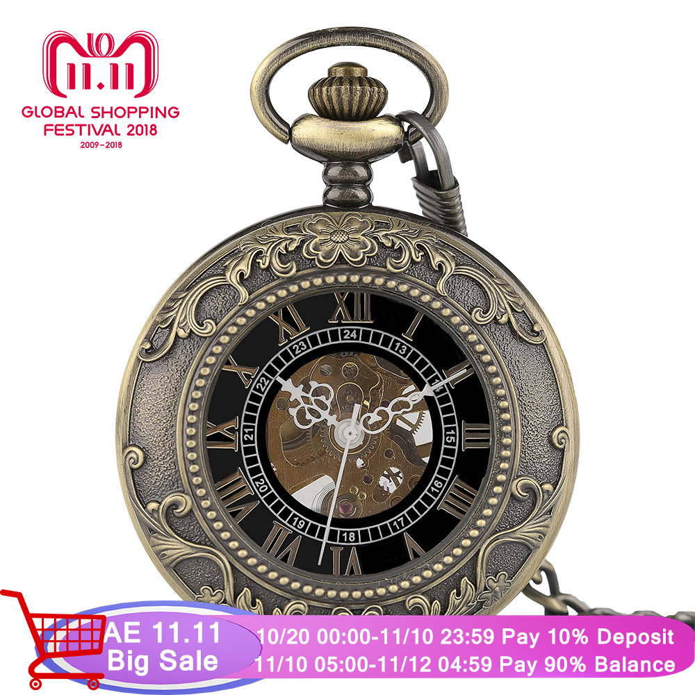 Classic Pendant Chain Hand Winding Mechanical Pocket Watch Men Steampunk Skeleton Women Carving Necklace Clock Xmas Gift shuhang rose cooper mechanical hand winding pocket watch octagon shape roman number skeleton clock pendant with chain best gift