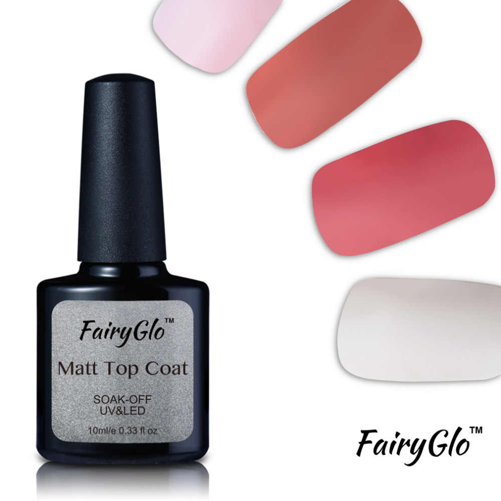 Fairyglo Top Coat 10 Ml Nail Gel Polish Rendam Off UV LED Matt Top Coat Gel Karet Lacquer Hybrid Pernis gelpolish Nagellak Lem