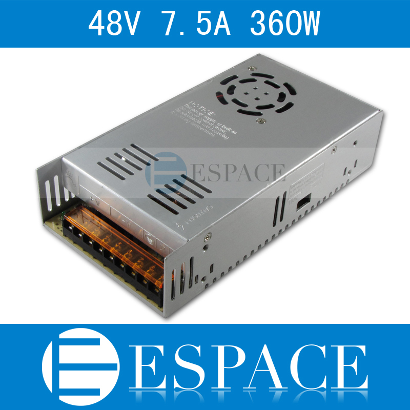 Best quality  48V 7.5A 360W Switching Power Supply Driver for LED Strip AC 100-240V Input to DC 48V free shipping best quality 5v 2a 10w switching power supply driver for led strip ac 100 240v input to dc 5v free shipping