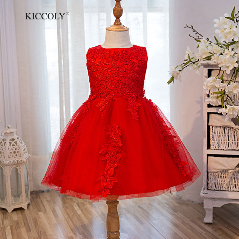 Top Quality Girl Red Wedding Dress First Communion Dresses Kids Birthday Tulle Lace Infant Toddler Pageant Flower Girl Dresses brandwen formal white dresses for girl tulle lace infant toddler pageant pearls girl dress for wedding and birthday vestidos