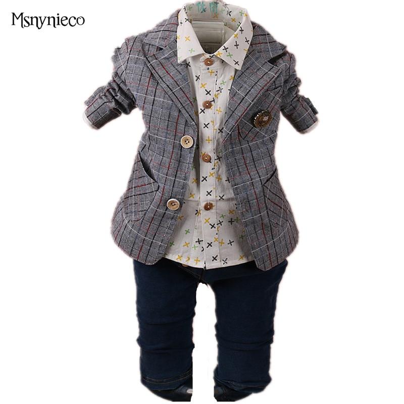 ФОТО 2017 Spring Boy Boy Clothes 3pcs Suit Sets Long Sleeve shirt +Jacket+pant Handsome Gentleman Suit Infant Boy Clothing Set
