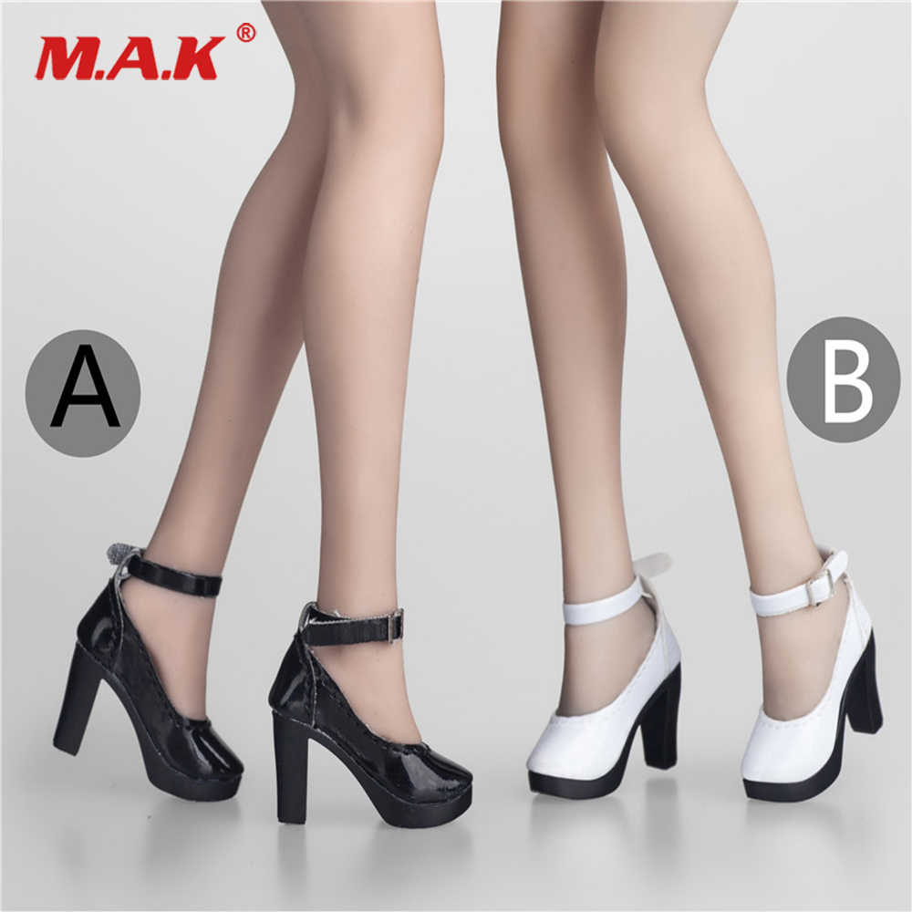 e428af5eab3 ... 1/6 Scale Female Black/White Colors High Heel Shoes Boots Model  Accessories Toy ...