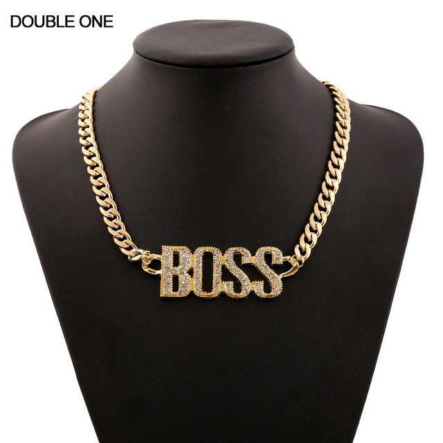 US $6 49 |Trendy Hip Hop BOSS Popular Letter Crystal Necklaces Pendants  Necklace For Women fine Jewelry Wholesale-in Chain Necklaces from Jewelry &