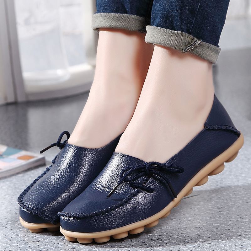Women Flats Soft Genuine   Leather   Shoes Women Moccasins Shallow Casual Shoes Nurse Mother Loafers Women Flat Shoes Female 35-43