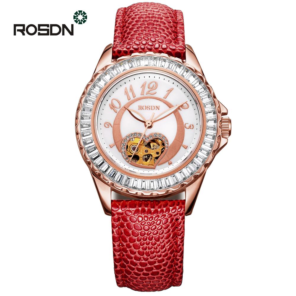 ROSDN Automatic Mechanical Women Watches ladies Automatic wrist watch top brand famous pearl dial Relogio Feminino Reloj Mujer