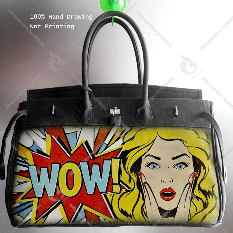 лучшая цена New Canvas HandBag Art Hand printing Graffiti POP Gril Say WOW Design Bags Luxury Bolsa Feminina Designer Handbag Women Men Tote
