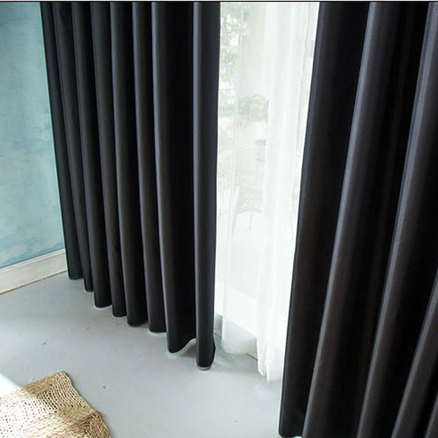Thick Black Insulation Full Blackout Curtains Shade Cloth Finished ...