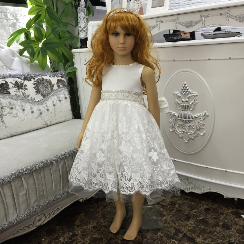 Factory Wholesale 2-8 YRS Ivory Girl Party Dress 2016 New Girl Lace Prom Gown  Knee Length Formal dress For Kids in stock X-5209 yamaha yrs 20bb in c