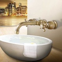 Concealed Bathroom Basin Wall Mounted 3 holes dual handle Bathtub Antique Brass Faucet mixer tap Set