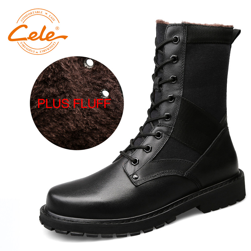 CELE Brand Winter Warm Martin Militar Boots Men Snow Winter Shoes Large Size 38-47 Knee-High Boots Cotton Winter Shoes Men martin winter boots for men and men s winter snow boots warm cashmere waist leather shoes in winter thickening