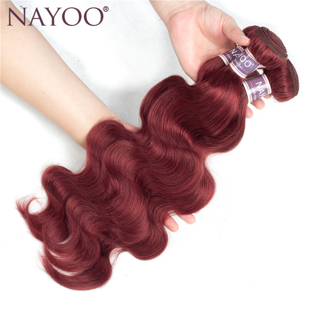 Nayoo Pre Colored Brazilian Non Remy Human Hair Weave Bundles Body