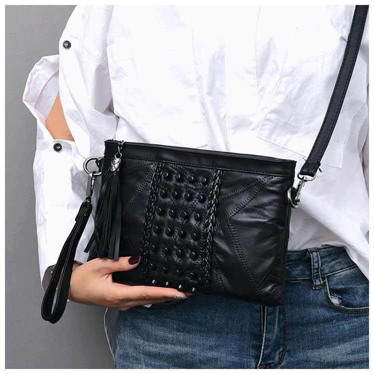 Модные женские сумки с кисточками, роскошные сумки с бахромой из натуральной кожи, женская сумка-мессенджер для девочек, сумка через плечо, женские клатчи