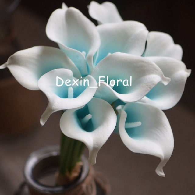 Turquoise Pico Calla Lily Real Touch Lilies For Wedding Bouquets Centerpieces Artificial