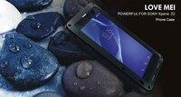 מקרה סיליקון מגן עבור Sony Xperia Z2 מתכת סגסוגת החזק עם גורילה מזג זכוכית סרט מסך