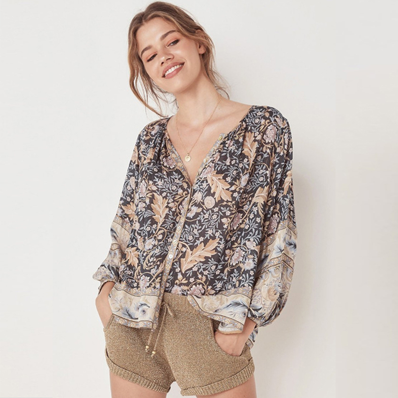 Sexy V Neck Print Button Women Blouses Lantern Sleeve Bohemia Ladies Shirt 2019 Summer Fashion Tops Casual Beach Party Clothes in Blouses amp Shirts from Women 39 s Clothing