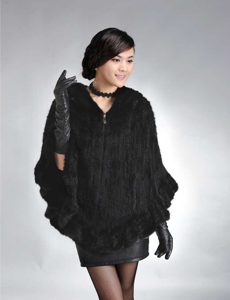 Factory Direct Genuine Mink Fur Shawl Women Natural Mink Fur Poncho With Hood Winter Knitted Mink Fur Jacket DL6191 (4)