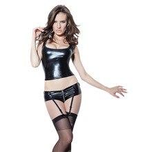 Sexy Black Leather Lingerie Set Wetlook Latex Vinyl Tanks Vest Crop Top Zipper Front Shorts with Garters Gothic Exotic Dancewear цена