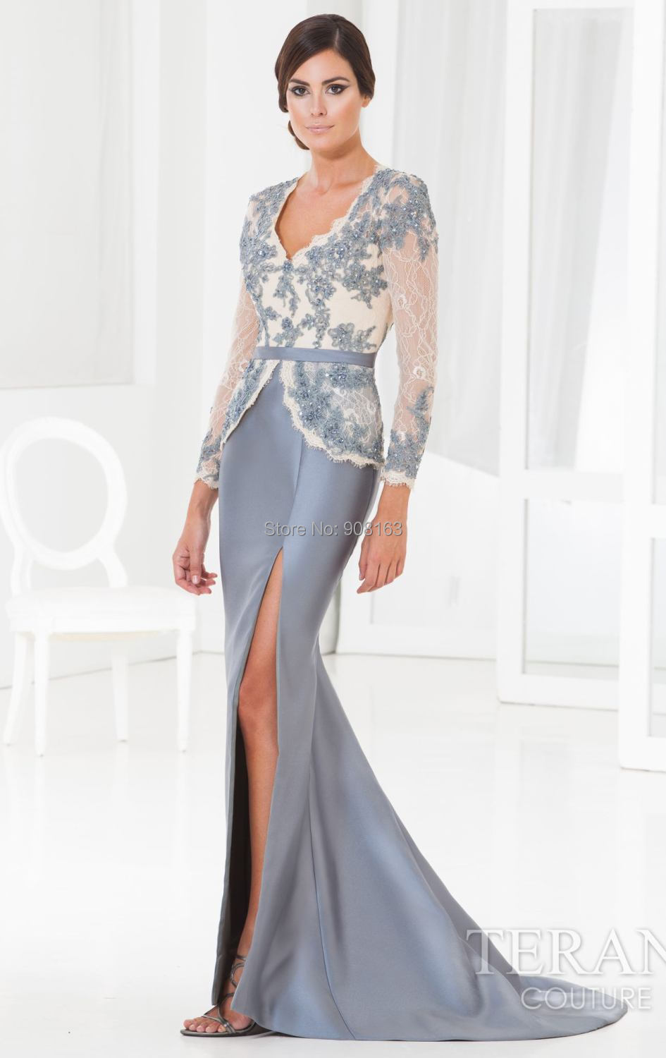 Fashion ! Fit and Flare Long Sleeve Designer Couture Evening Gown ...