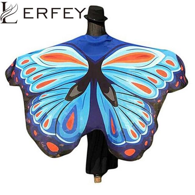 LERFEY Women Beach Scarf Pashmina Butterfly Wing Cape Scarves Peacock Poncho Shawl Wrap Novelty Print Chiffon Scarves Pashminas