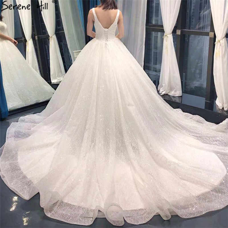 6947eb2c ... White Deep V-Neck Sexy Glitter Wedding Dresses 2019 Sleeveless Princess  High-end Vintage ...