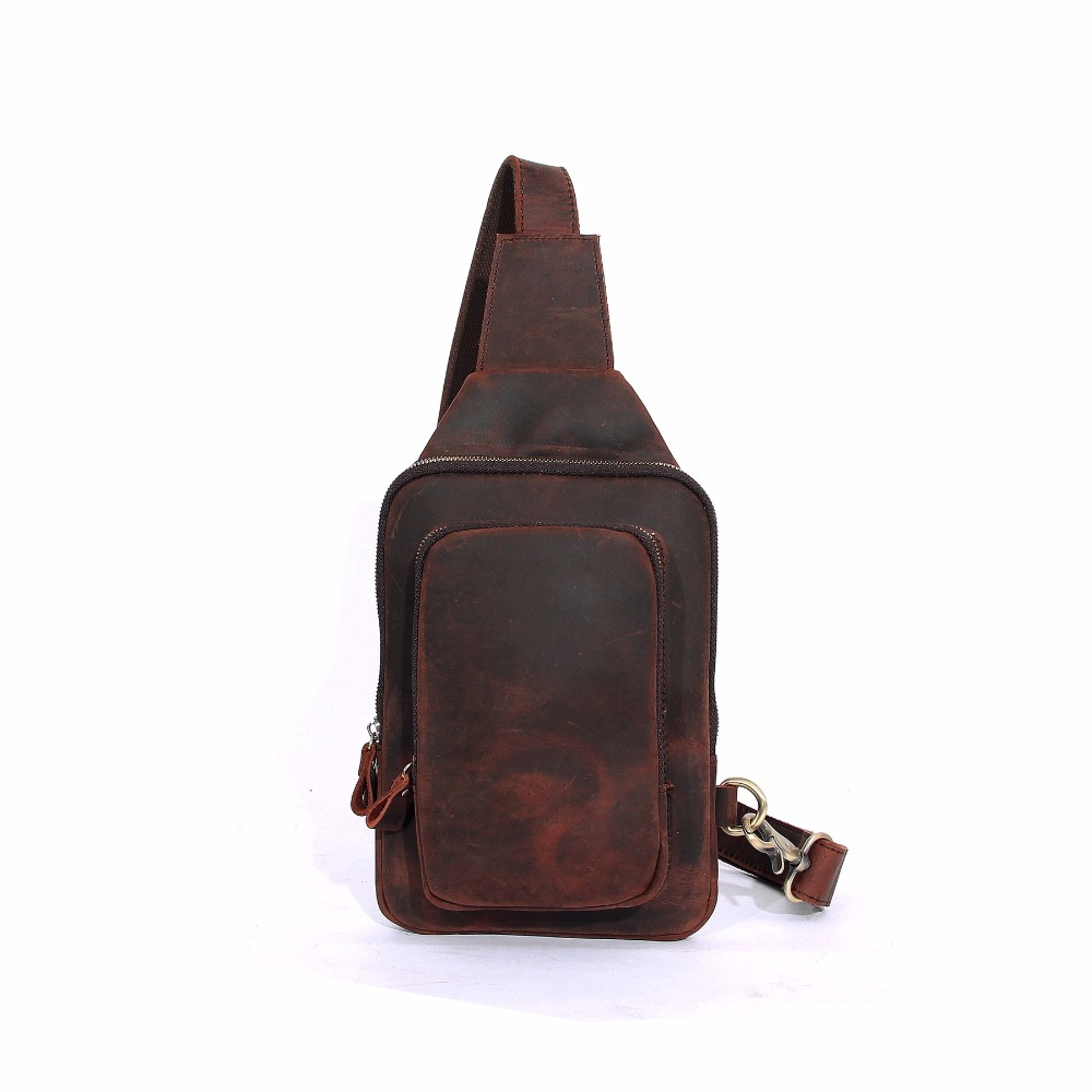 New fashion leather chest bag unisex retro bag handmade first layer leather crazy horse leather multi-function tide bag usb male to micro usb male woven cable for samsung p600 p601 t310 t210 t211 white black