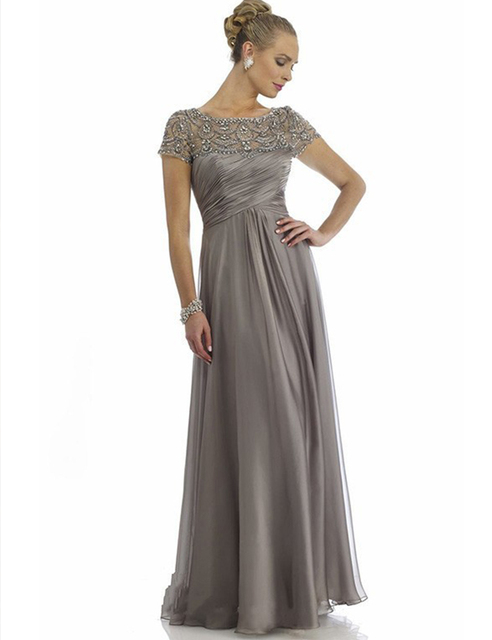 Don's Bridal Evening Party Dresses 2016 Short Sleeves Chiffon Beaded A Line Mother Of The Bride Dress