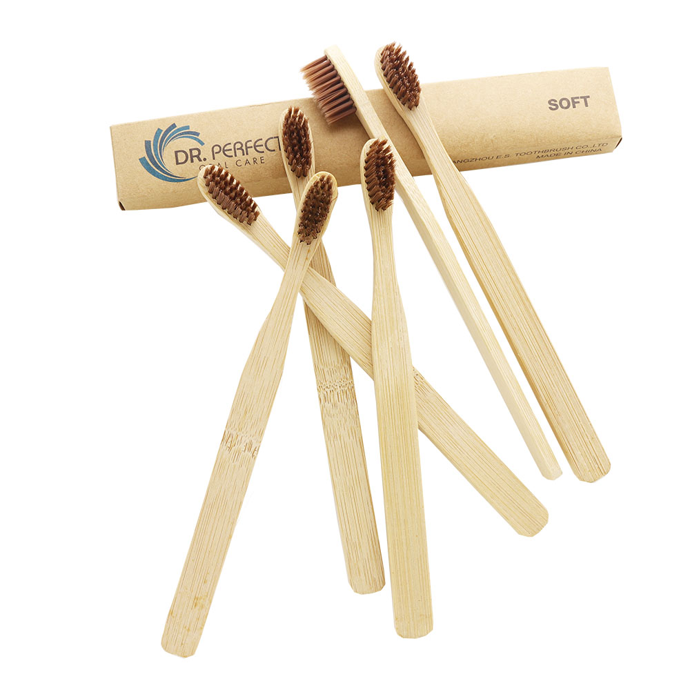 DR.PERFECT DR.PERFECT Wholesale 100 Pieces/ lot Free Shipping Extra Soft Bristle Natural Brown Bamboo Toothbrush image